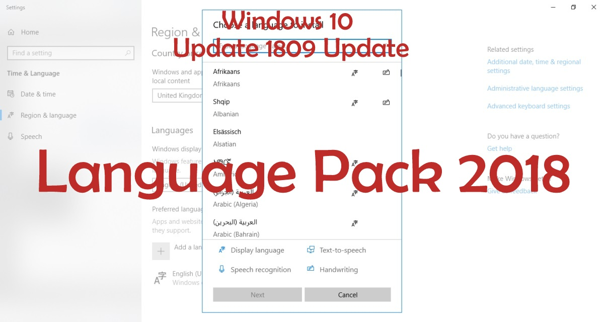 Download Windows 10 version 1809 October Update Language Pack