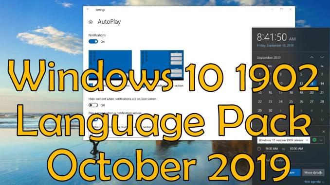 Windows 10 1902 Language Pack October 2019