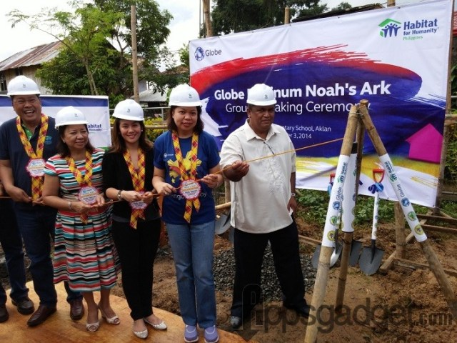 Noah's Ark groundbreaking activity and ceremonial burial of time capsule in Balete Elementary School, Aklan participated by (from L-R):  Habitat for Humanity CEO and Managing Director Charlie Ayco, Aklan Vice Governor Gabrielle Calizo-Quimpo, Globe Platinum Director Kaisie Del Carmen, Globe SVP for Corporate Communications Yoly Crisanto, and Balete Elementary School Principal Julio Gallardez.