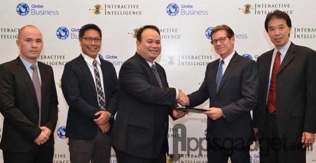 Formalizing the partnership are representatives from Globe Business (from left): Director of Product Marketing Gerry Soler, Head of Mobile and Fixed Communication Louie Villanueva, Senior Vice President for Enterprise Group Nikko Acosta; and from Interactive Intelligence, Chief International Business Officer Gary Blough and Regional General Manager for Asia Simon Lee.