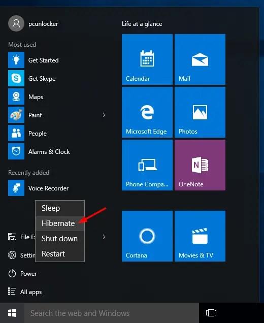 كيفية تمكين وضع Hibernate في نظام التشغيل Windows 10