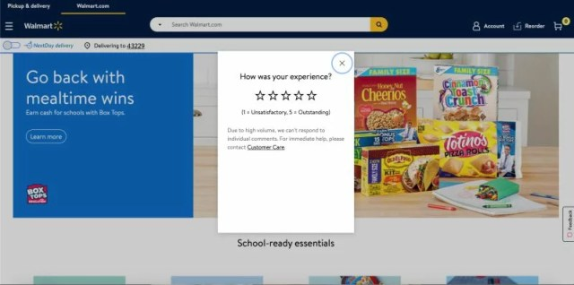 Walmart star ranking feedback form