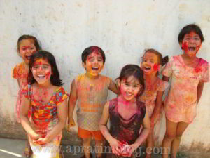 children playing happy holi