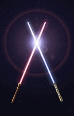 Imagen que contiene dos sables de luz de star wars en un fondo estrellado