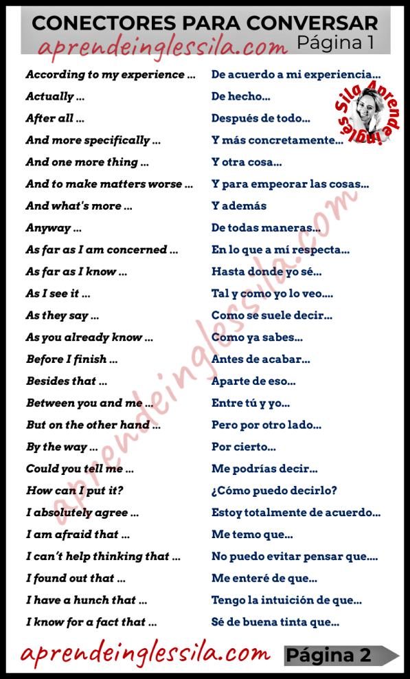 52 Conectores En Inglés Con Pdf Para Conversar