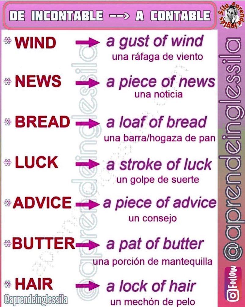 palabras incontables en inglés