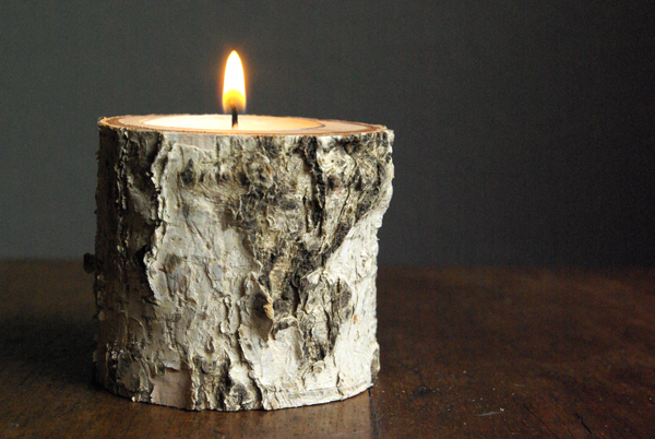 birch wood candle