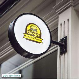 desain logo burger makanan
