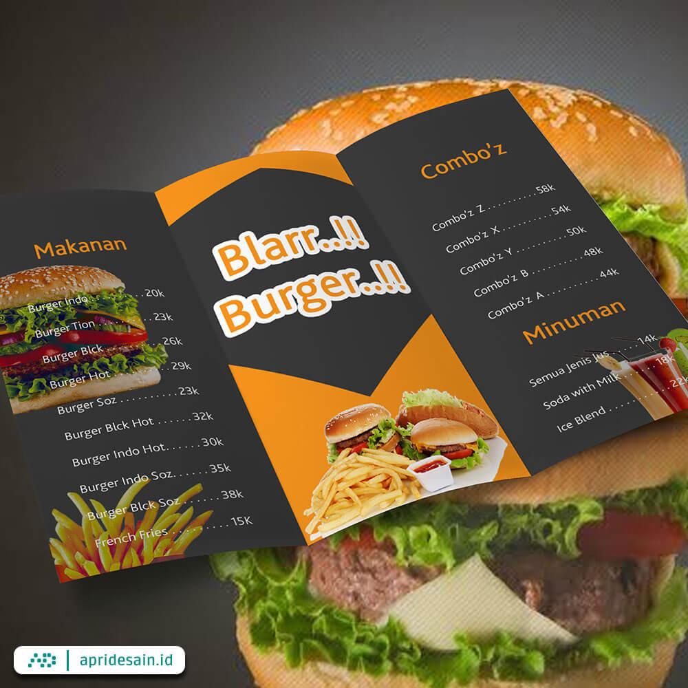 jasa desain daftar menu burger
