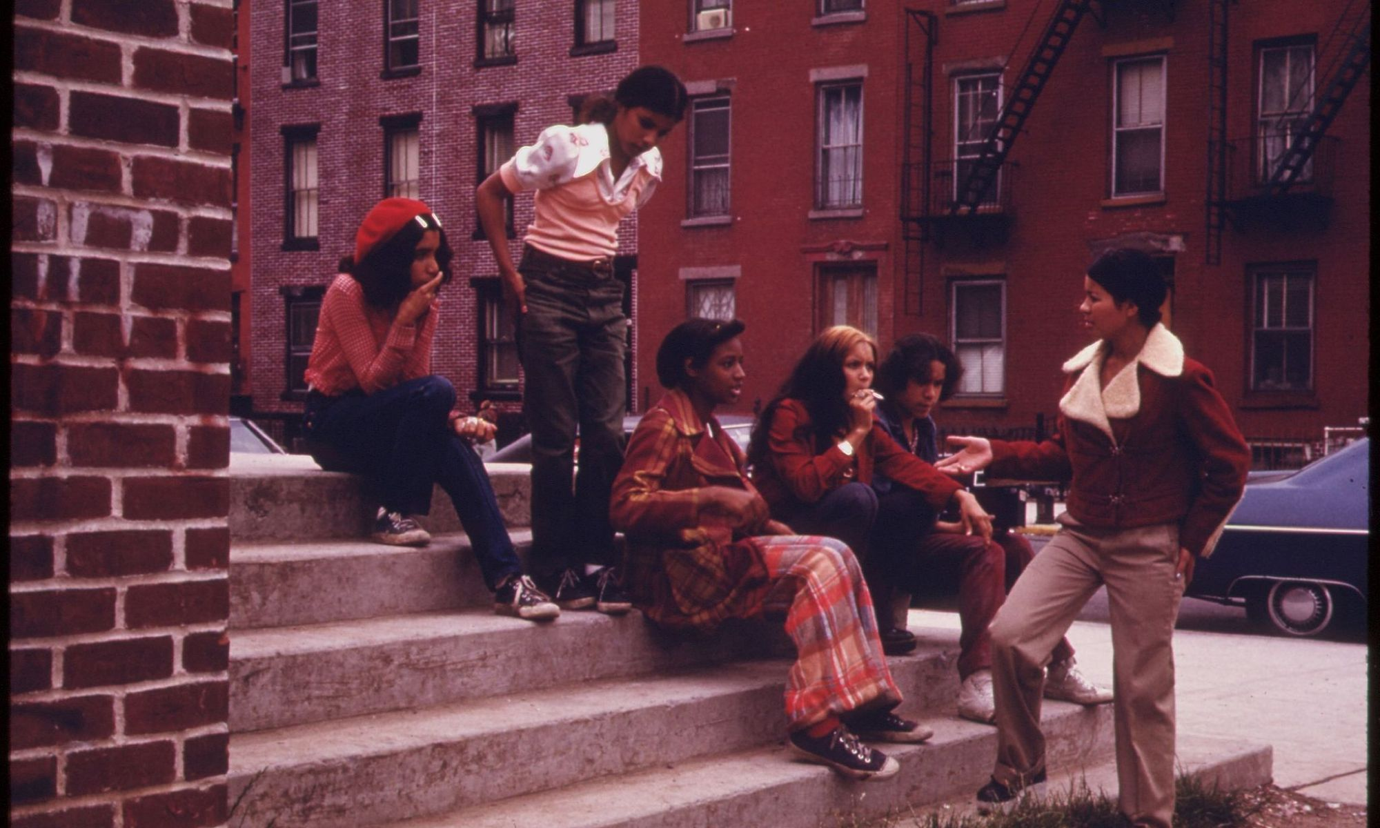 Latino teenagers in Lynch Park, Brooklyn, in the 1970s.