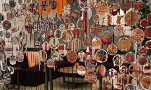 Employee-made medallions at Etsy's headquarters.
