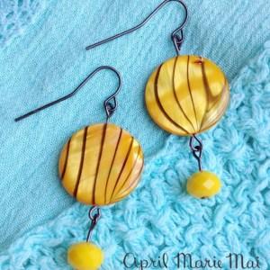 Yellow Stripe Earrings