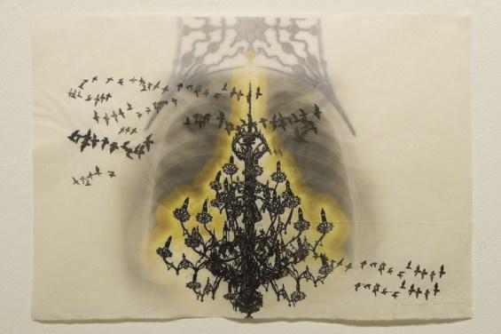 Nimbus/Migration, 2011, 26 x 38, digital and woodblock on washi