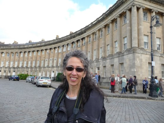Cindi at the Royal Crescent, designed by John Wood the Younger and built before 1774