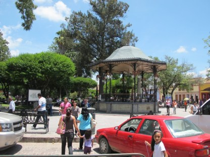 the bandshell in the square at Dolores Hildago