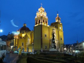Boston Prnitmakers in Guanajuato, Mexico, the Basilica at night