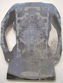 torso on shaped panel, 24 inches high, with aspen tree image, and Sant'Ivo