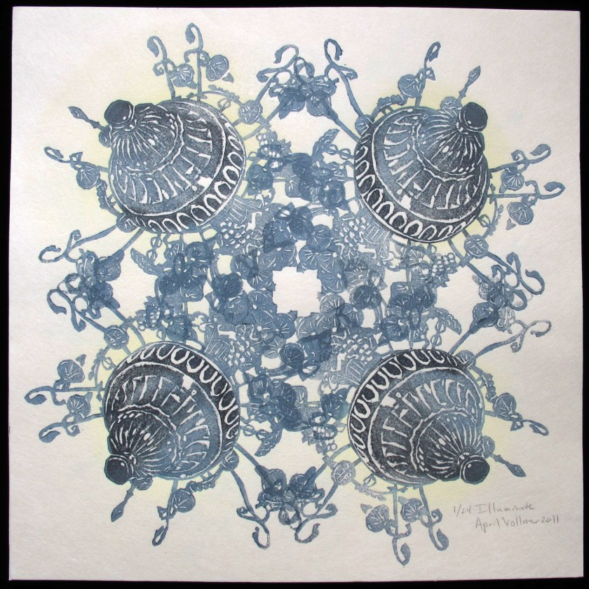Illuminate, 12 x 12 inches, created for Boston Printmakers