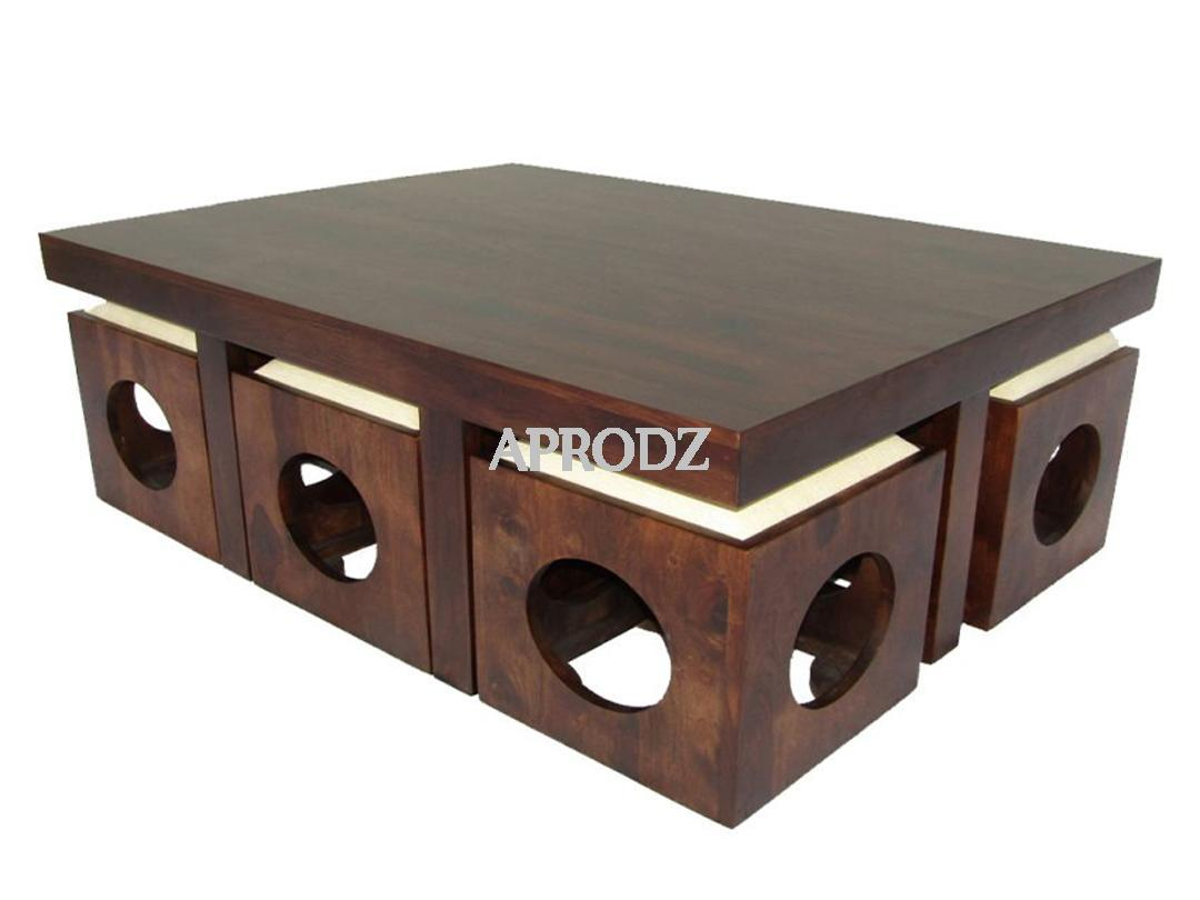 6 seater coffee table stool set walnut finish white cushion 1