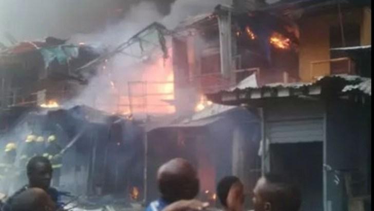 Fire Guts Balogun Market In Lagos