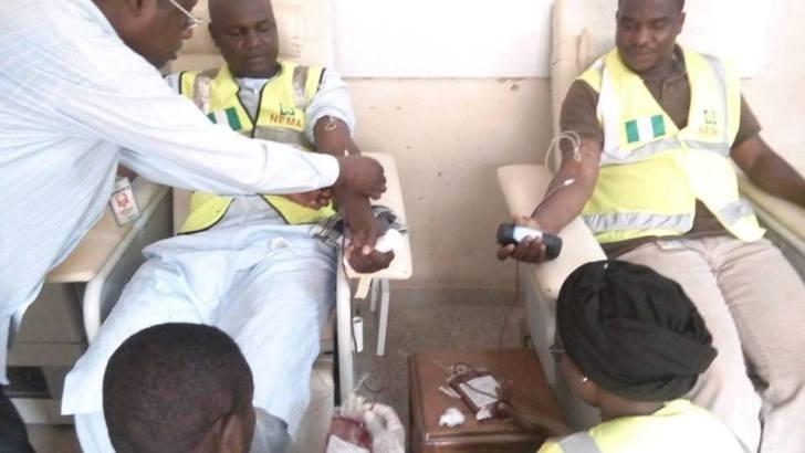 NEMA Officials Donate Blood To IDPs
