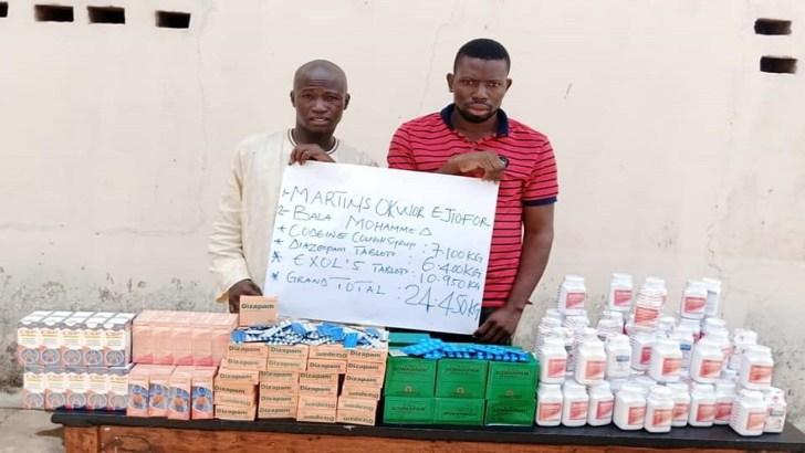 NDLEA Arrests Two Bandits Drug Suppliers In Kwara, Seizes 24kg Diazepam, Codeine