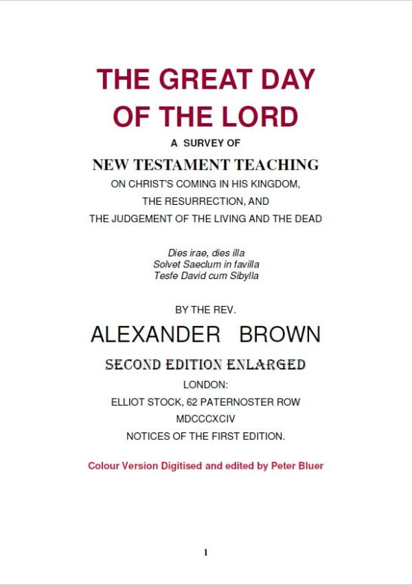 The Great Day Of The Lord By Rev Alexander Brown