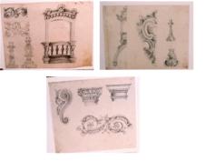 Esboços de arcos para decoração de sepulturas / Projeto para decoração e balcão em igreja de Piracicaba / Projeto de decoração de igreja
