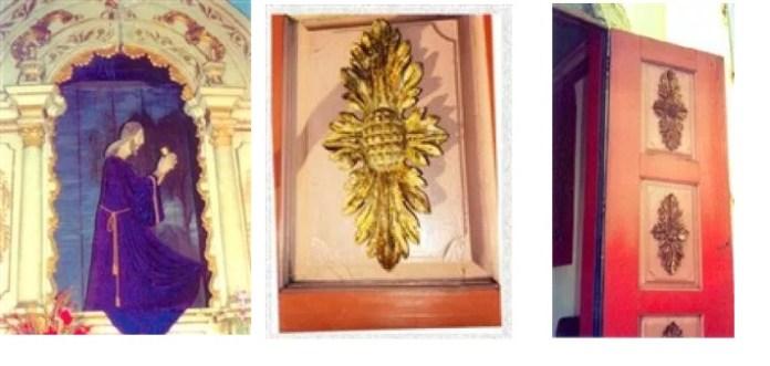 Vista da imagem de Jesus orando com o cálice e parte do altar da Capela do Horto Piracicaba (SP) / Detalhe do ornamento da parte interior da porta / Parte interna da porta da Capela