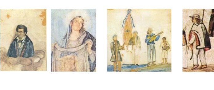 Thomaz da Silva Dutra (pai de Miguelzinho Dutra) / Santa Veronica e Santa Face / Bandeira da Folia do Divino / Tropeiro (detalhe da aquarela Procissão da Folia)