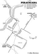 A informação da rota e da faixa neste mapa baseia-se em grande parte em um mapa de trilha desenhado pelo entusiasta de bondes de Chicago Raymond DeGroote durante sua visita a Piracicaba em 1964.
