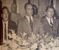 Aspecto parcial da mesa: notam-se Ermor Zambello, Mario Dedini, Dovílio Ometto, Humberto D'Abronzo, Luciano Guidotti e Armando Dedini