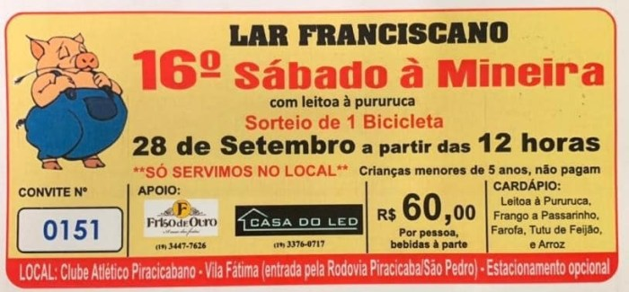 Lar Franciscano promove 16º Sábado à Mineira neste fim de semana