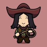 Cute cowboy character holding whip cartoon vector icon illustration