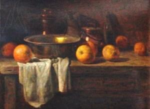 """Quadro de João Dutra, """"Natureza Morta"""", óleo sobre cartão, de 1915 (reprodução do livro """"Os artistas Dutra"""", de Augusto Carlos Feneira Velloso)"""