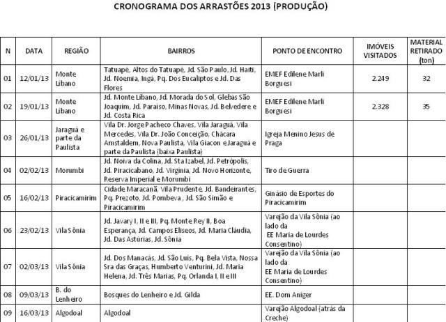 Cronograma dengue