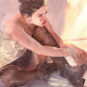 Garota e o quadrado - Renato Palmuti - Mostra Aquarelas de Renato Palmuti - Foto Reprodução