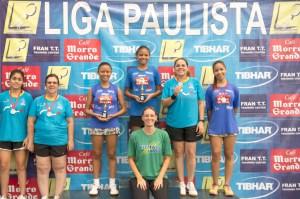 Podio com atletas da Fran TT, Jaqueline, Brenda e Mayara