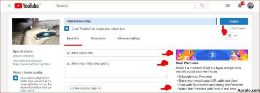 Enter title description tag and click on publish button