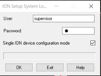 ION Setup Login Screen
