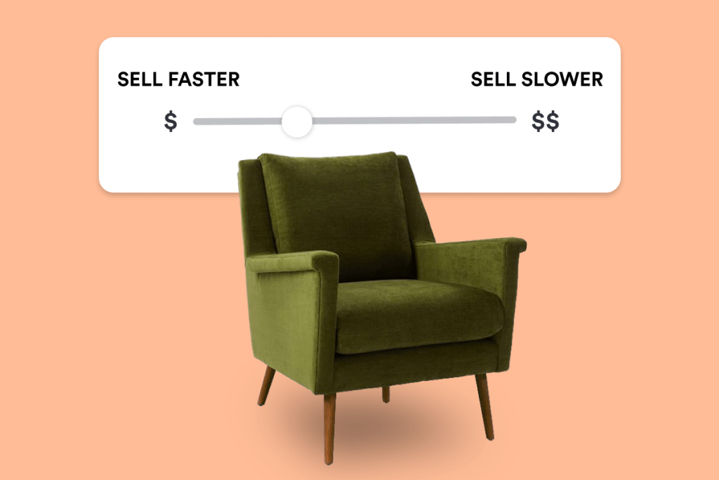 Green Chair + Pricing tool for selling furniture