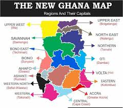 Ghana map with new regions