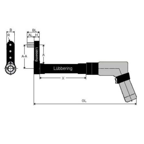 Lubbering pistol installation tool Hi-Lok 19 mm long 5/16 socket