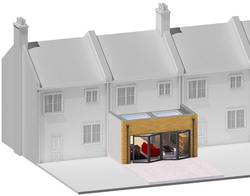 single storey rear house extension