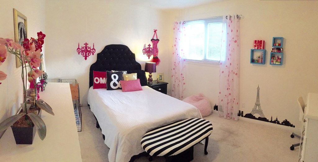 Teen Girls Room / Room Transformation / Paris Themed Room / Tween Room ideas / apurdylittlehouse.com