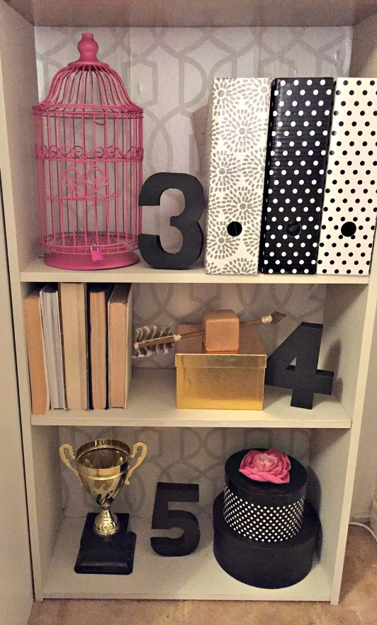 Built In Bookshelf in Home office with crown moulding on top / shelf organization / styling a shelf / 30 day flip challenge / apurdylittlehouse.com