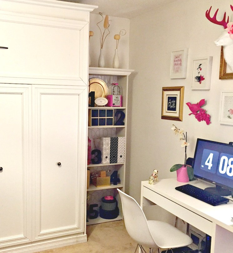 Built in Office Bookcase in a Kate Spade inspired space