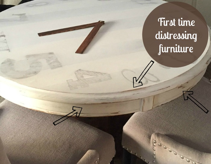 Chapin Gray General Finishes / Clock Table upcycle / distressing furniture / how to turn a table into a clock / vintage style table / image transfer to table / apurdylittlehouse.com