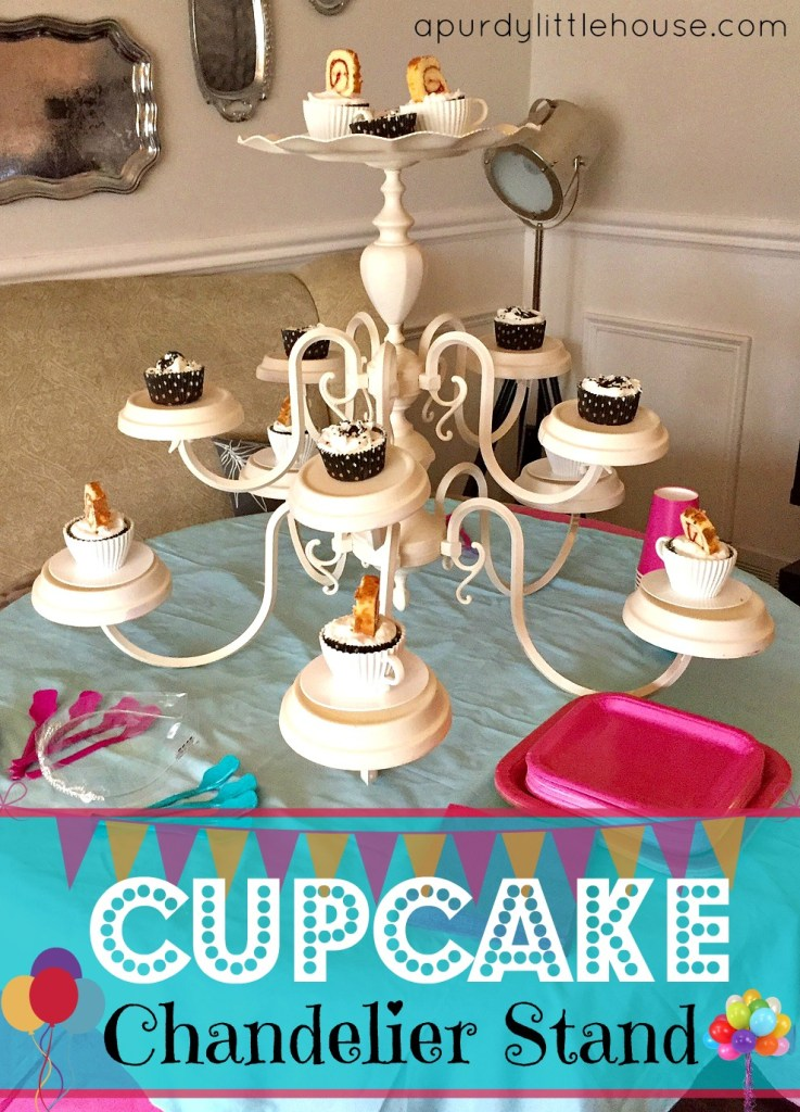 How to Make a Chandelier Cupcake Stand / Girls Spa Party / Chandelier Cupcake Stand / how to / Girls Party Ideas / apurdylittlehouse.com