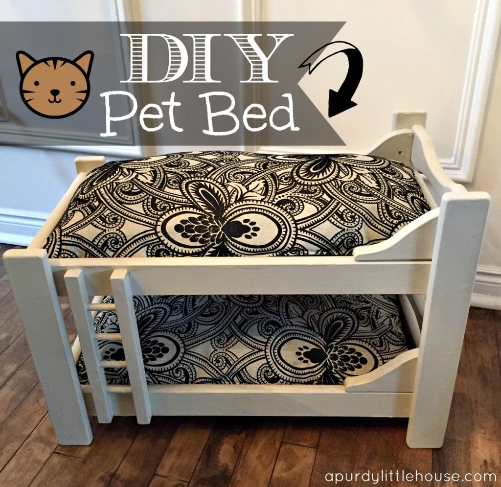 How to transform an old doll bunkbed into a cute pet bed / furniture upcycle / repurpose / Furniture Refresh / apurdylittlehouse.com